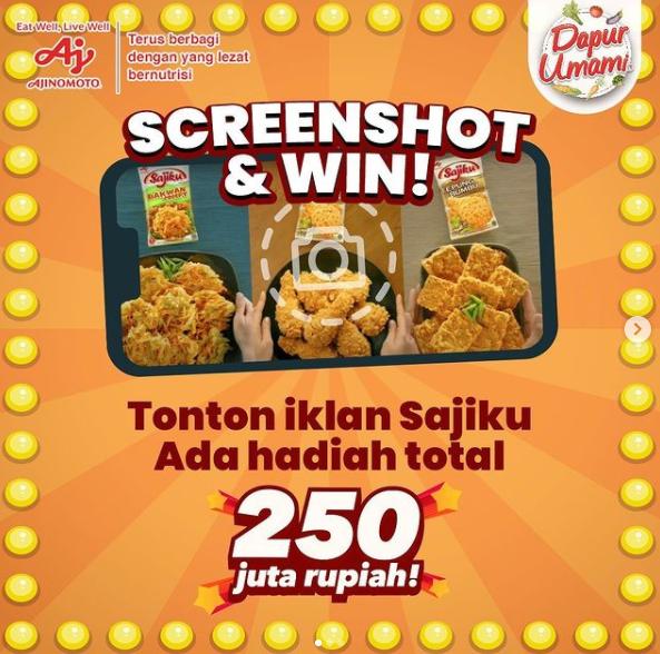 Kuis Screenshot And Win Iklan Sajiku Berhadiah Total Rp 250 Juta