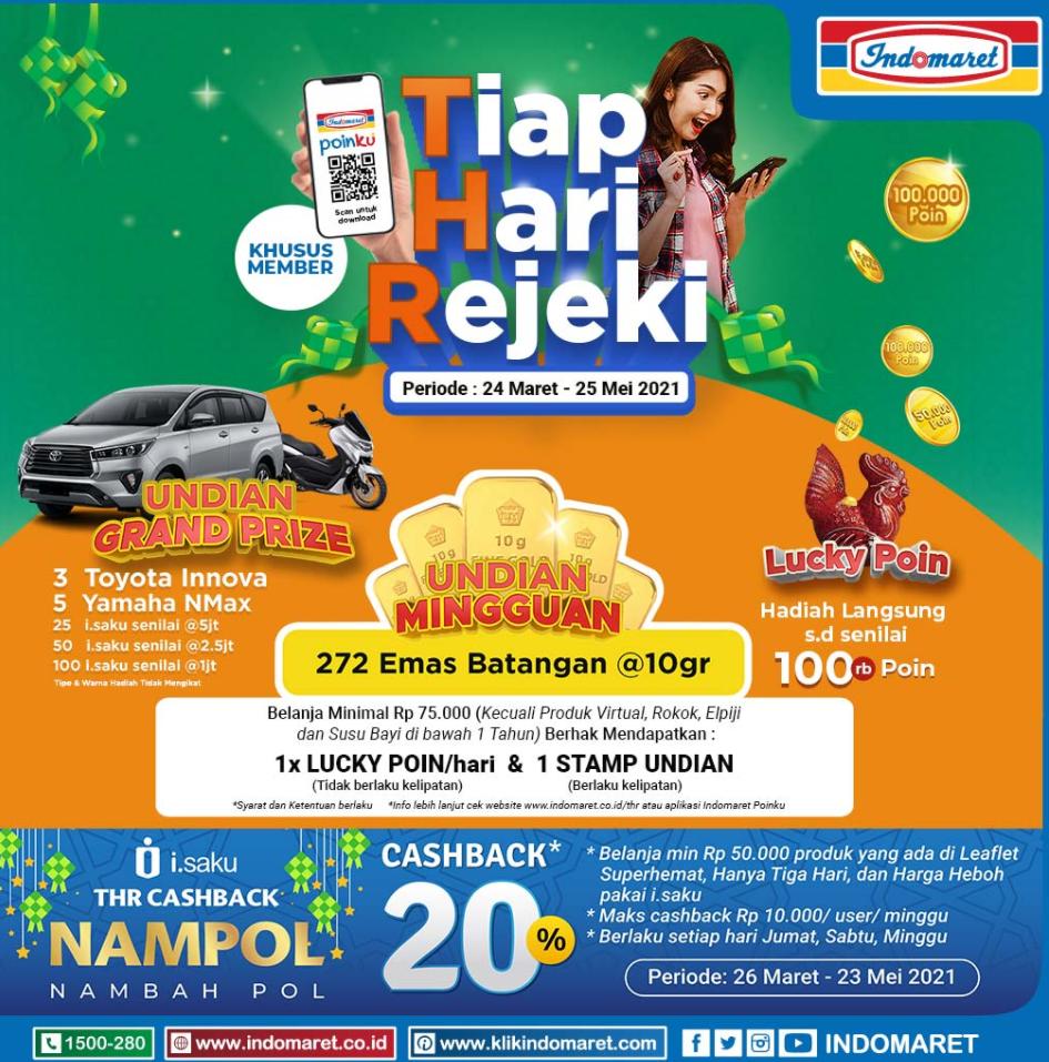 Promo Undian Indomaret Berhadiah Grandprize Mobil Innova, Yamaha Nmax, Emas Batangan dll
