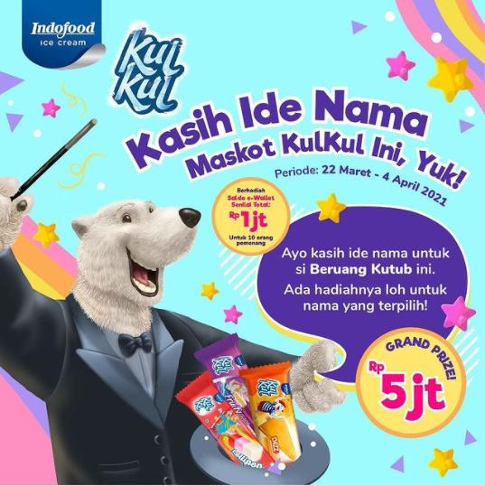 kuis indofood Ice Cream Kulkul kasih nama mascot
