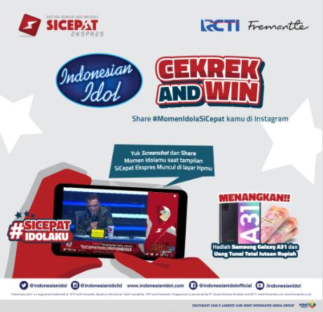 lomba screenshot dan share sicepat indonesian idol dan rcti