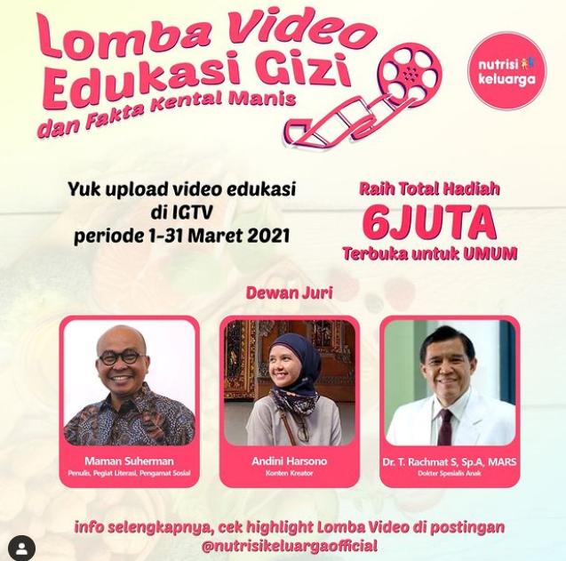 Lomba Video Edukasi Gizi Raih Hadiah Uang Total 6 Juta