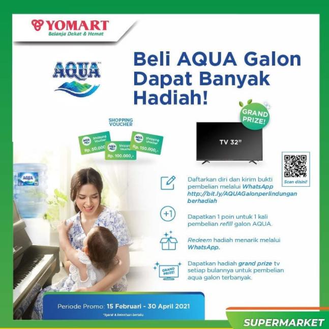 Promo Beli Aqua Galon di Yomart Berhadiah TV 32'' dan Voucher Belanja