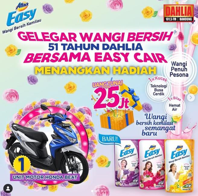Kuis Gelegar Wangi Bersih 51 Th Dahlia X Easy Cair Berhadiah Motor dan Uang 25 Juta