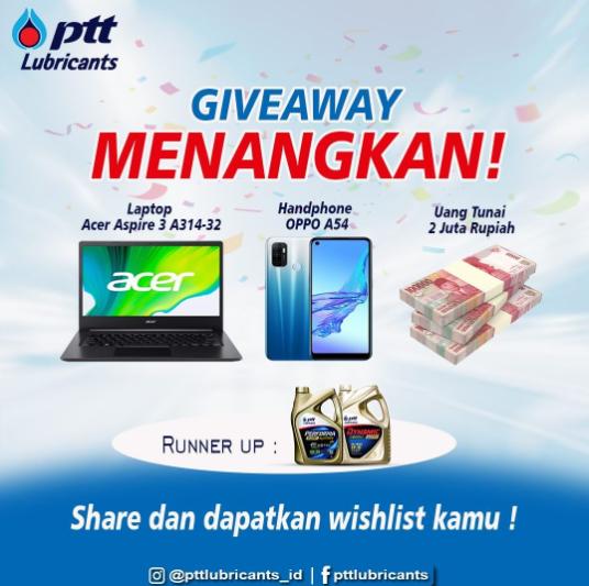 Giveaway Lebaran PTT Lubricants 2021
