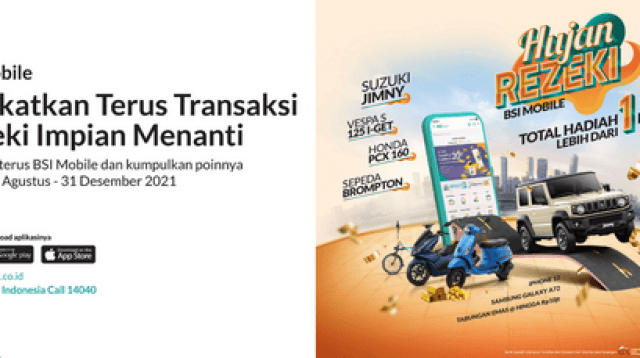 Hujan Rezeki BSI Mobile berhadiah mobil, motor, iphone